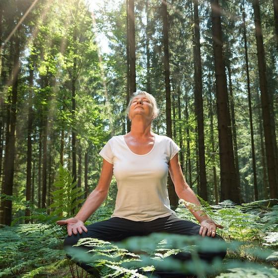 Yoga Frau sitzt im Wald